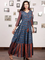 TRENDY RUSSET - Hand Block Printed Cotton Long Dress With Tie Up Waist -  D170F1336