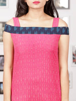 Pink Blue White Handwoven Ikat Off Shoulder Asymmetric Cotton Long Dress -  D283F1473