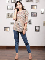 Off White Rust Indigo Hand Block Printed Cotton Top - T31F1383