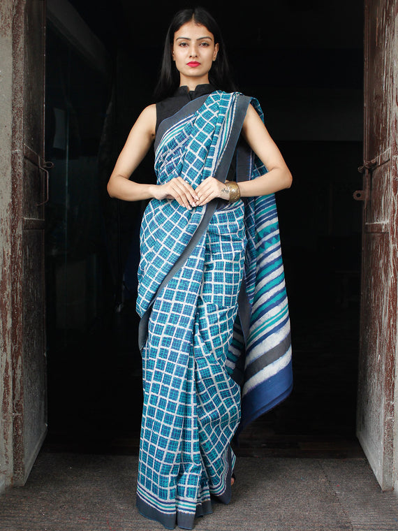 Indigo Green White Chanderi Silk Hand Block Printed Saree With Geecha Border - S031703980
