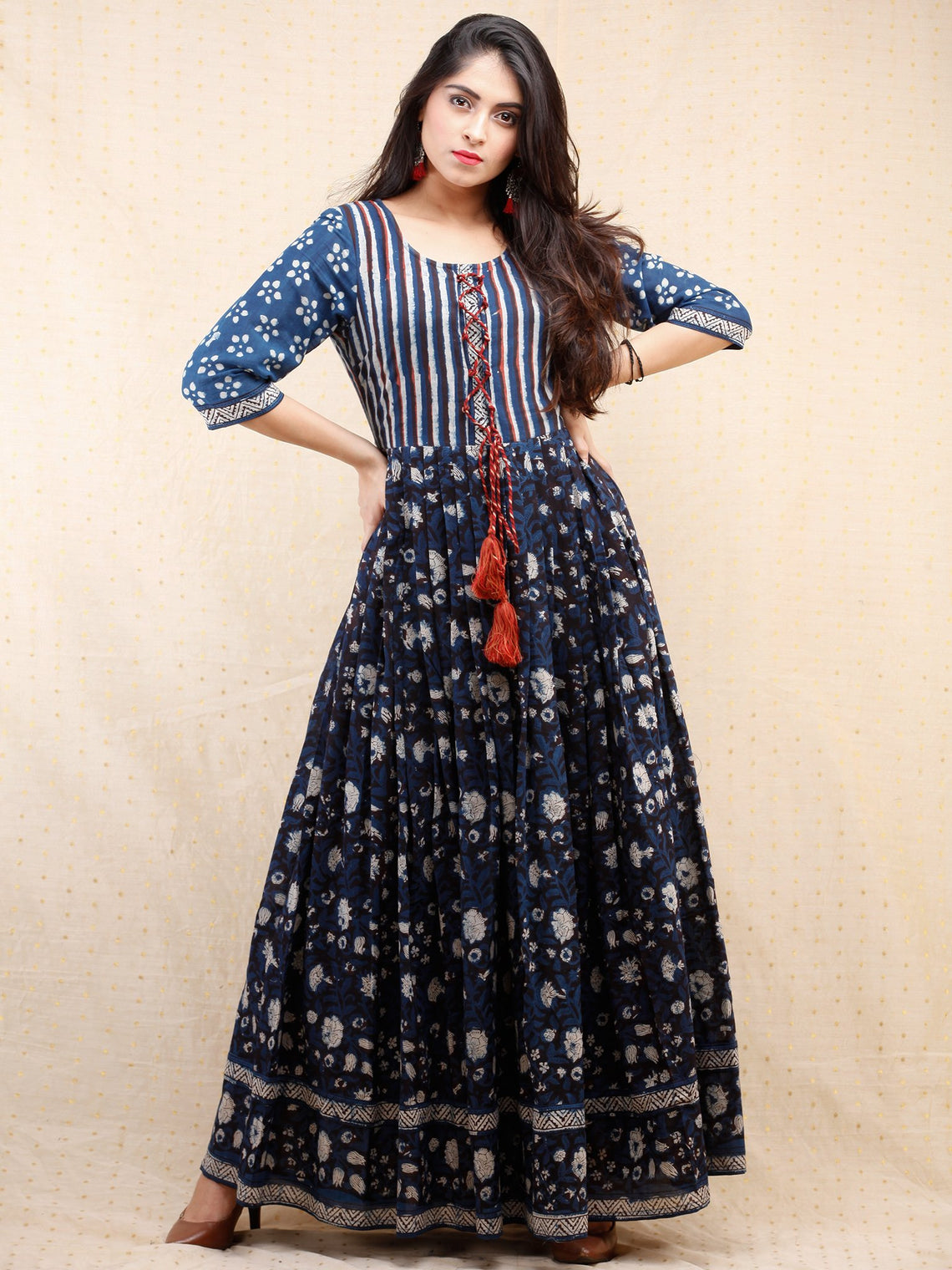 1083b2c6b2f Nahiza - Hand Block Printed Long Cotton Pleated Dress With Tassels -  DS86F001 ...
