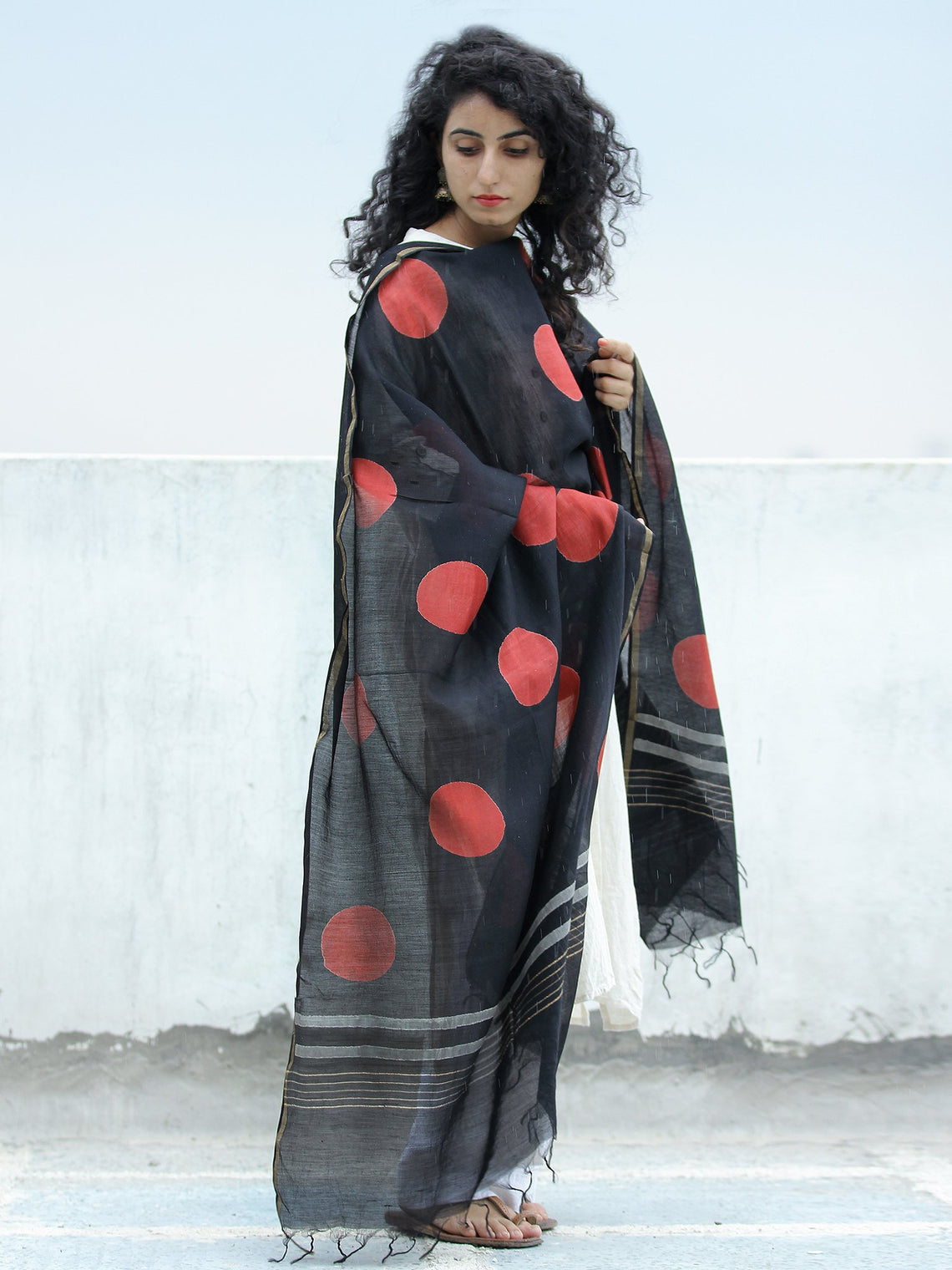 Black Red Chanderi Hand Block Printed & Hand Painted Dupatta - D04170296