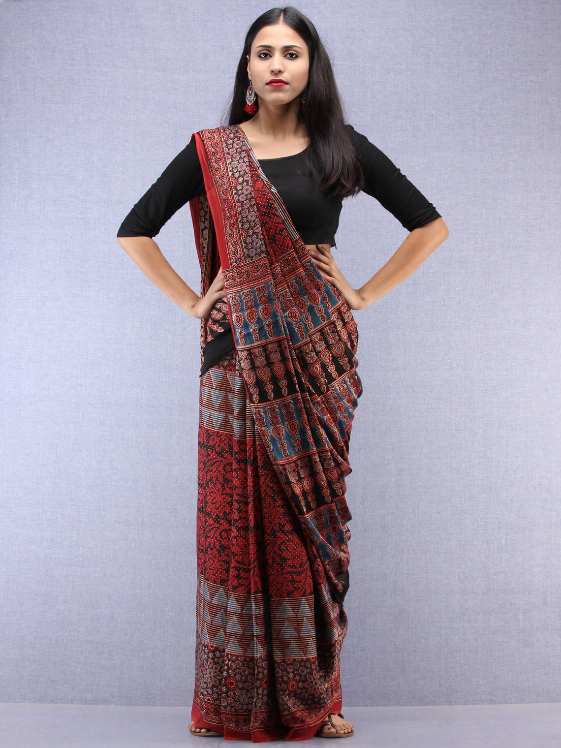 Red Beige Black Indigo Ajrakh Hand Block Printed Modal Silk Saree - S031704443