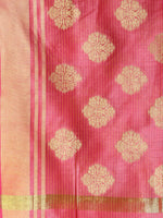 Banarasi Chanderi Dupatta With Zari Work - Pink & Gold - D04170789