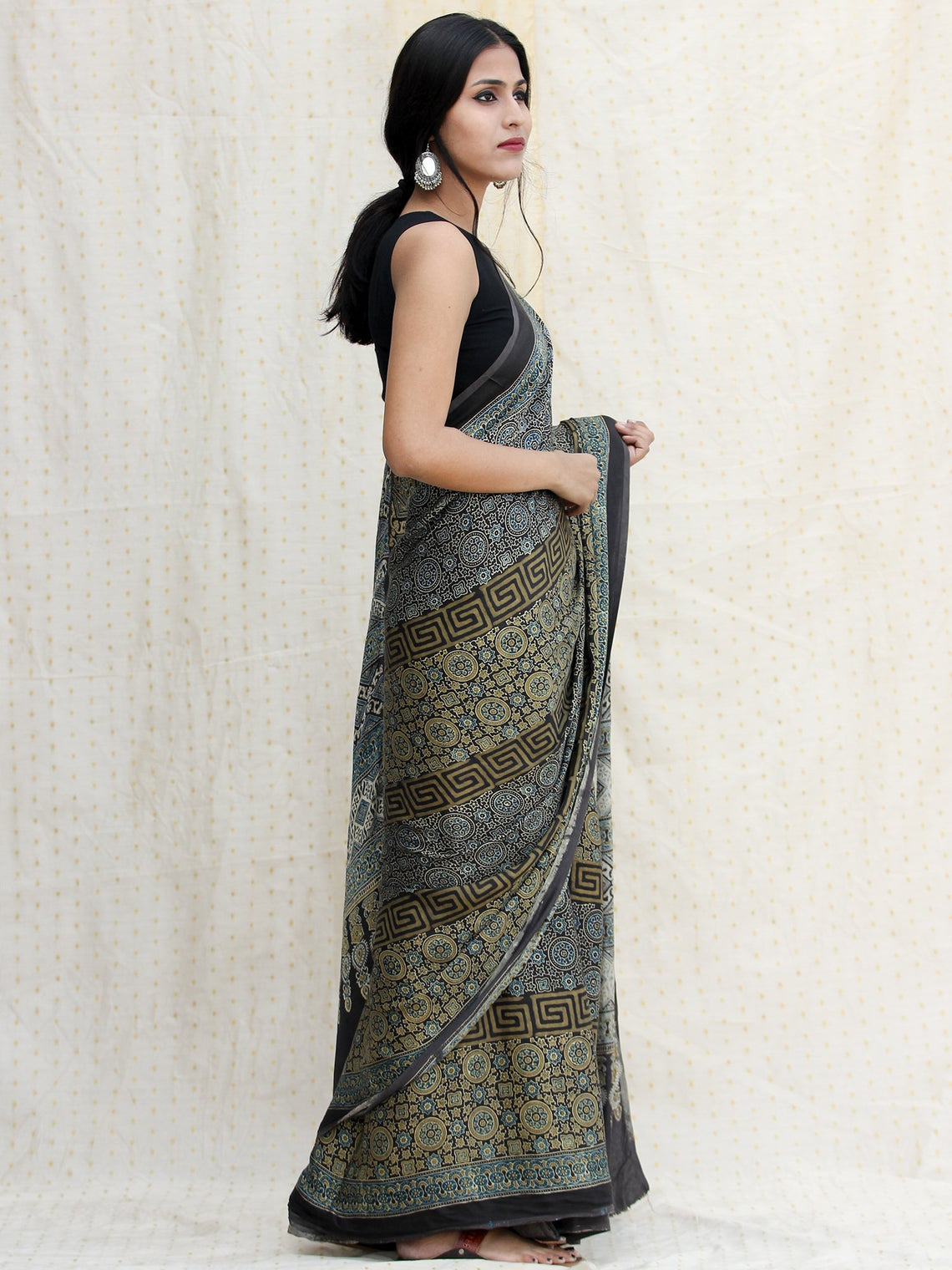 Black Green Indigo Ajrakh Hand Block Printed Modal Silk Saree in Natural Colors - s031704243