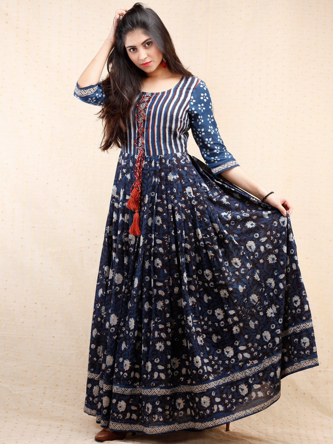 972c2ba35f2 ... Nahiza - Hand Block Printed Long Cotton Pleated Dress With Tassels -  DS86F001 ...