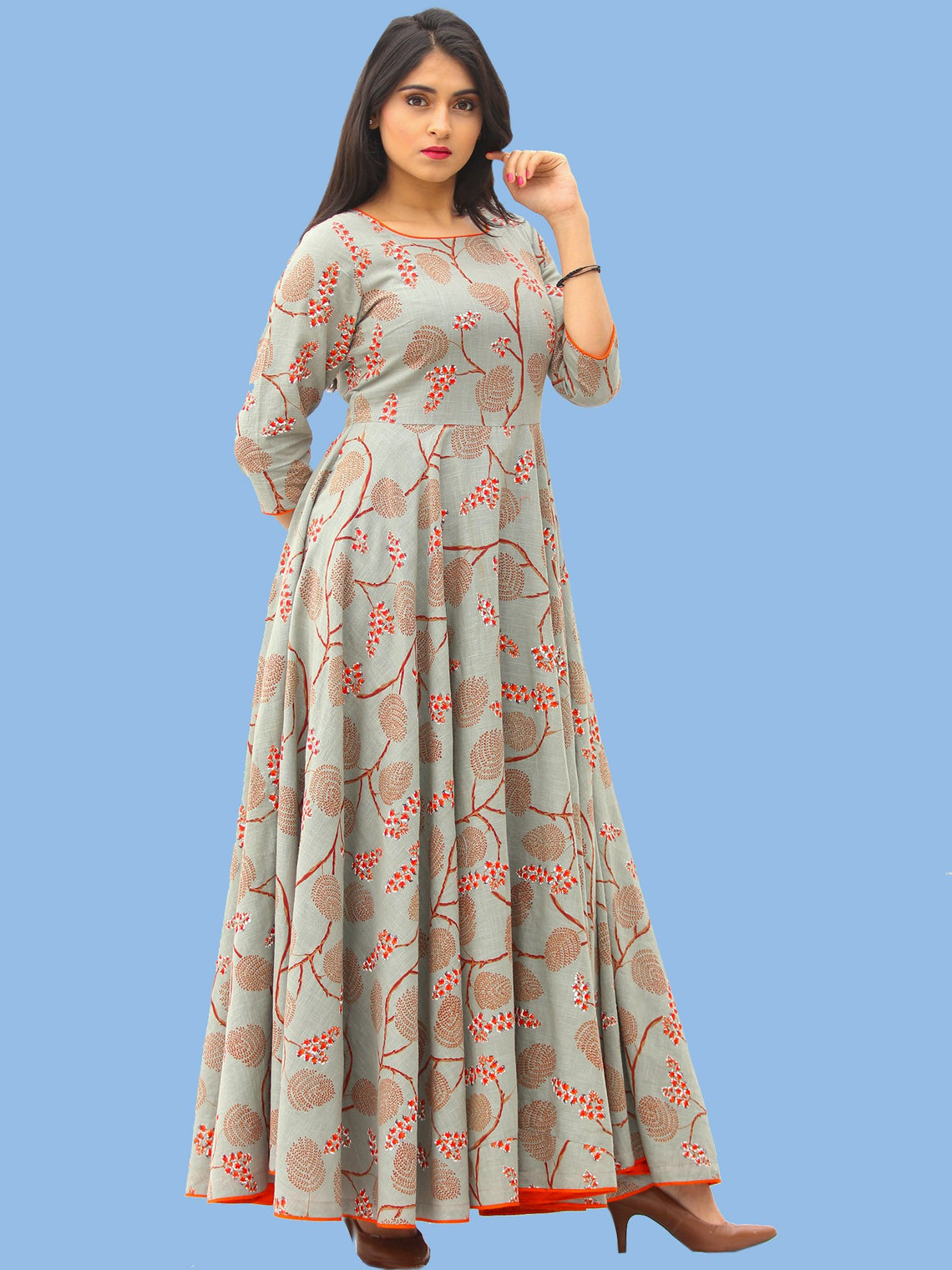Mahek - Coral Grey Printed Urave Cut Long Dress With Tie Up Deep Back - D395F1992