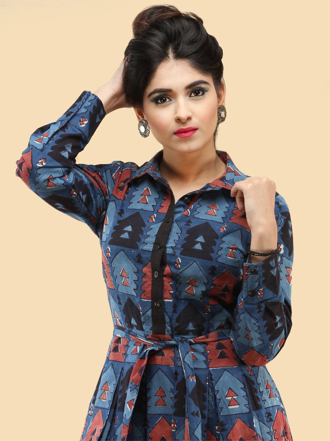 Naqsh - Hand Block Printed Cotton Middi Dress With Side Pockets  - D388F1841