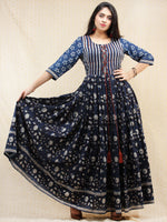 5abe14f5173 Nahiza - Hand Block Printed Long Cotton Pleated Dress With Tassels -  DS86F001