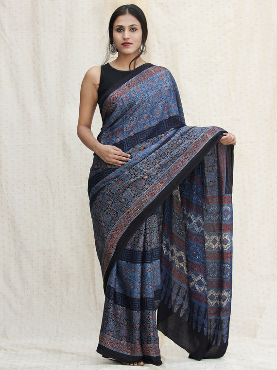 Indigo Black Red Ajrakh Hand Block Printed Modal Silk Saree - S031704123