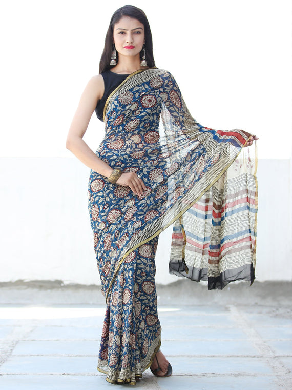 Indigo Ivory Red Hand Block Printed Chiffon Saree with Zari Border - S031703919