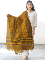 Mustard Brown Yellow Chanderi Hand Block Printed Dupatta - D04170544
