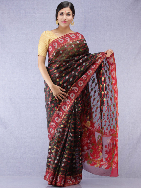 Banarasee Organza Saree With Zari & Resham Work - Black Red & Gold - S031704315