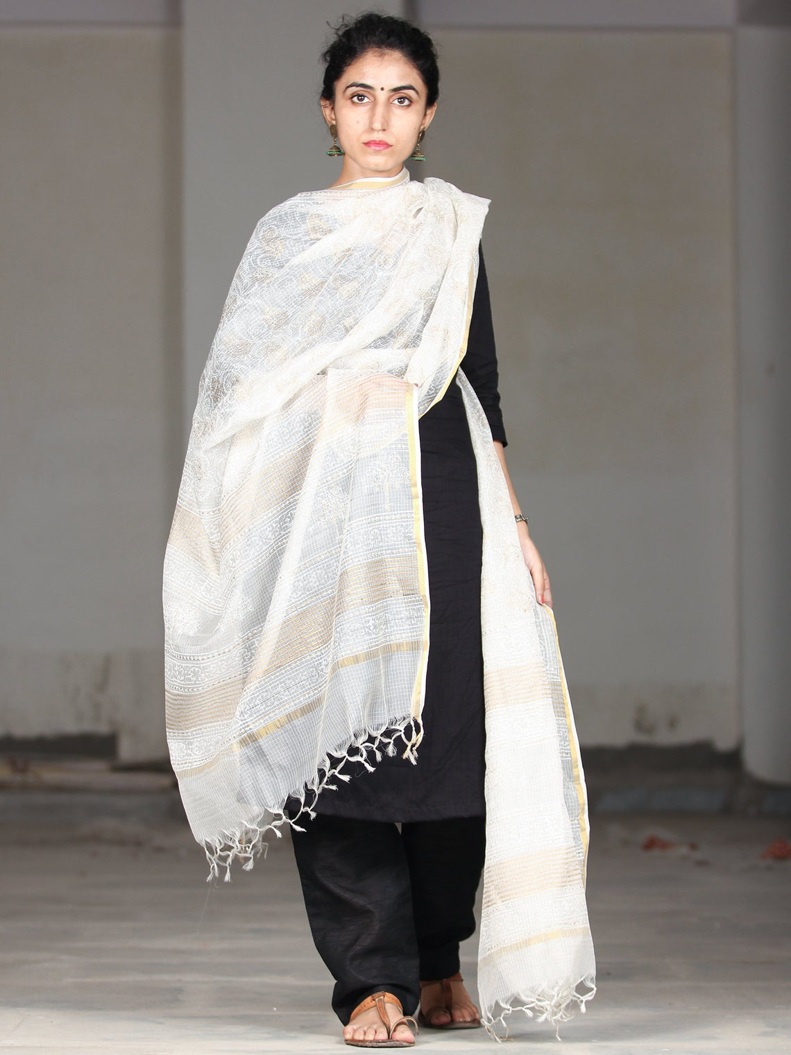 White Golden Kota Silk Hand Block Printed Dupatta - D04170403