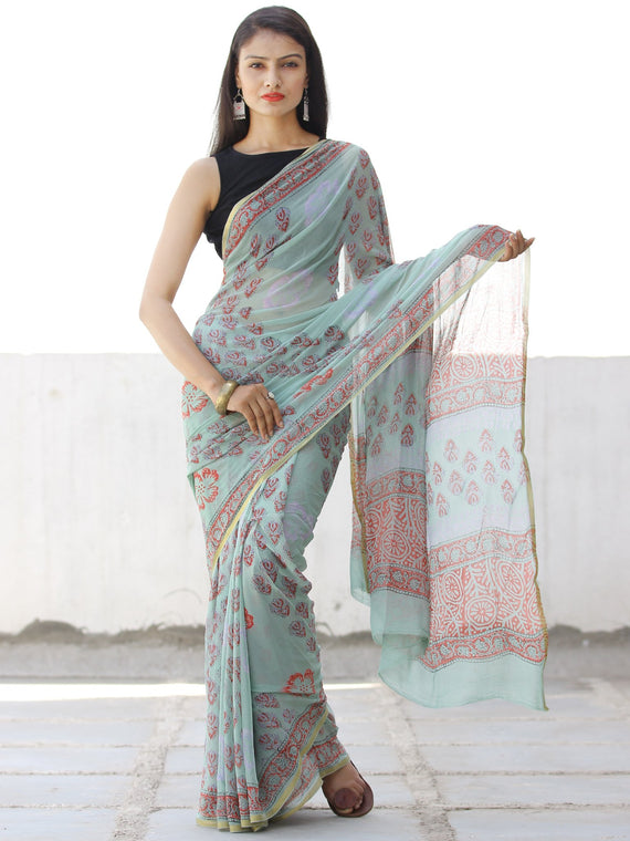 Pastel Green Coral Hand Block Printed Chiffon Saree with Zari Border - S031703958