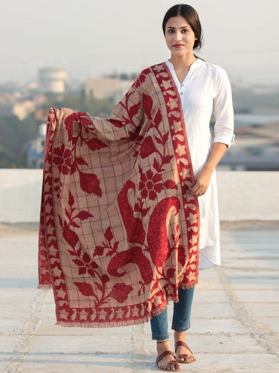 Red Beige Aari Embroidered Pure Wool Self Check Kashmiri Shawl - S200513