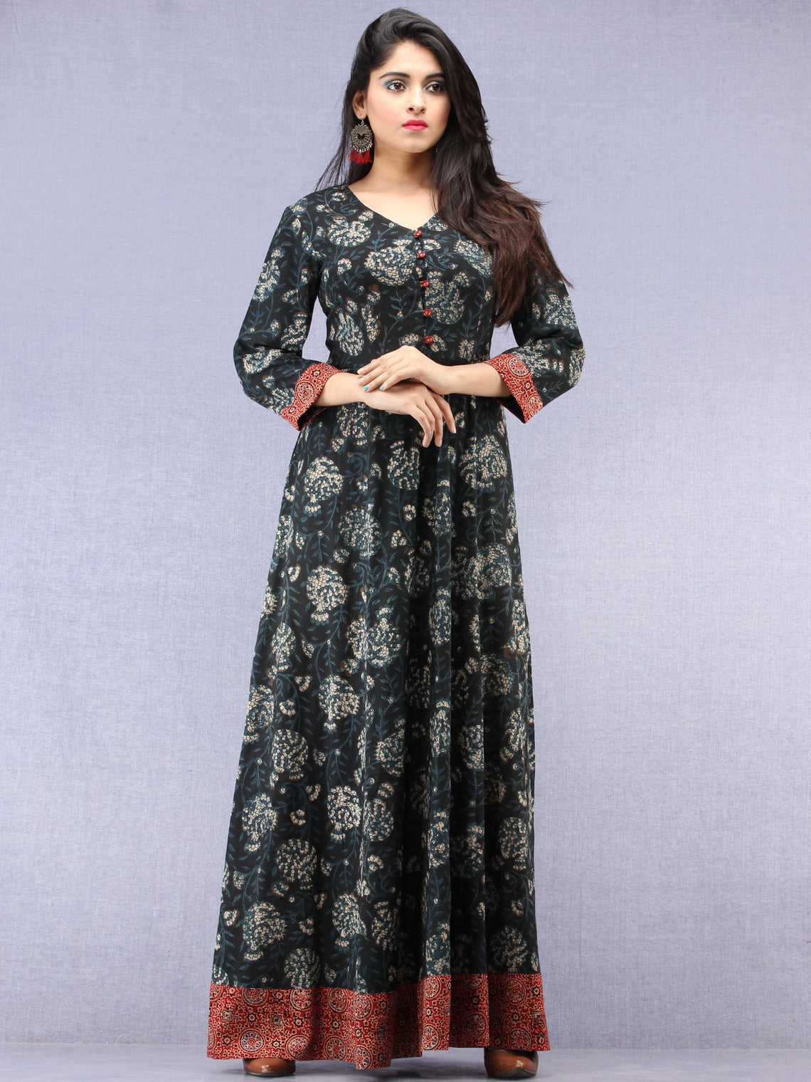 5f9e68d6ec ... Nazmin - Hand Block Printed Long Cotton Dress With Back Knots -  D162F1823 ...