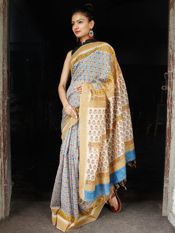 Teal Blue Yellow Coral Chanderi Silk Hand Block Printed Saree With Geecha Border - S031703615