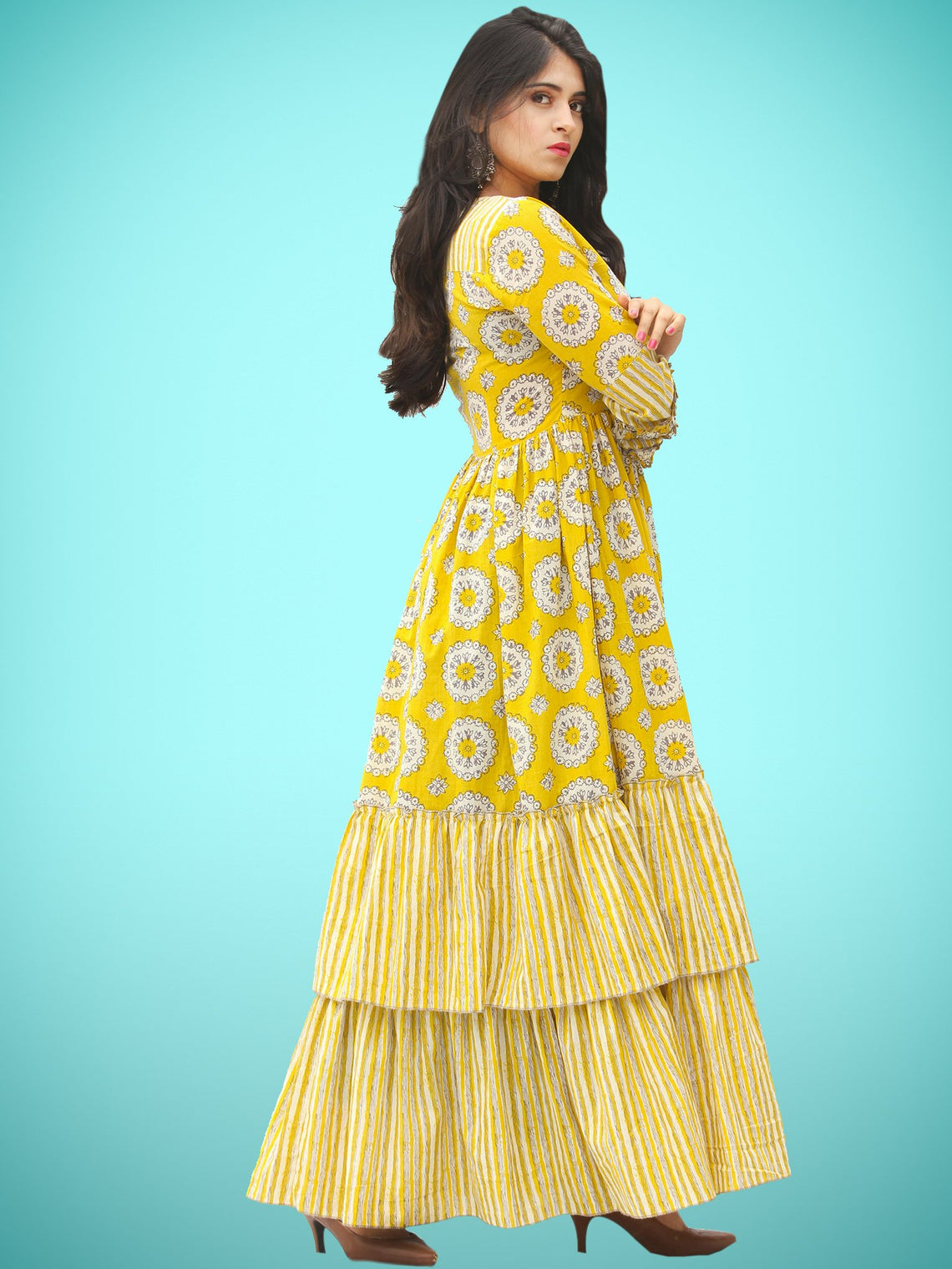 Rabia - Yellow Grey White Block Printed Long Ruffle Dress - D399F2018