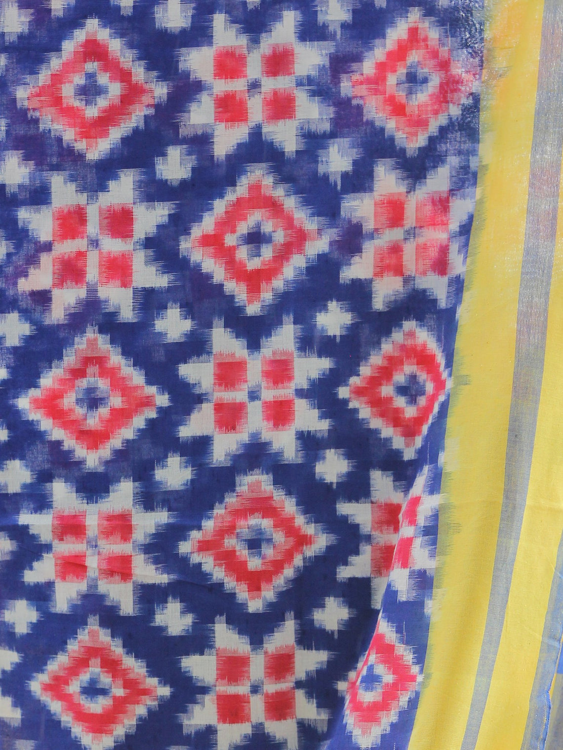 Yellow Blue White Telia Rumal Double Ikat   Handwoven Pochampally Cotton Dupatta -  D04170305