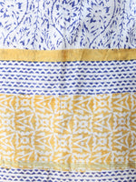 White Blue Yellow Chanderi Hand Block Printed Dupatta - D04170454