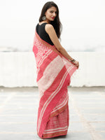 Coral Ivory Hand Block Printed Handwoven Linen Saree With Zari Border - S031703813