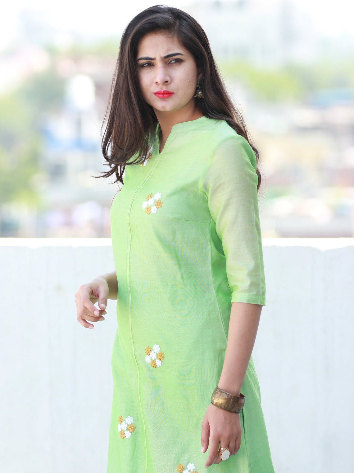 Pastel Play - Pastel Green Chanderi  Kurta & Pants Sets  - Set of 2  - SS01F058