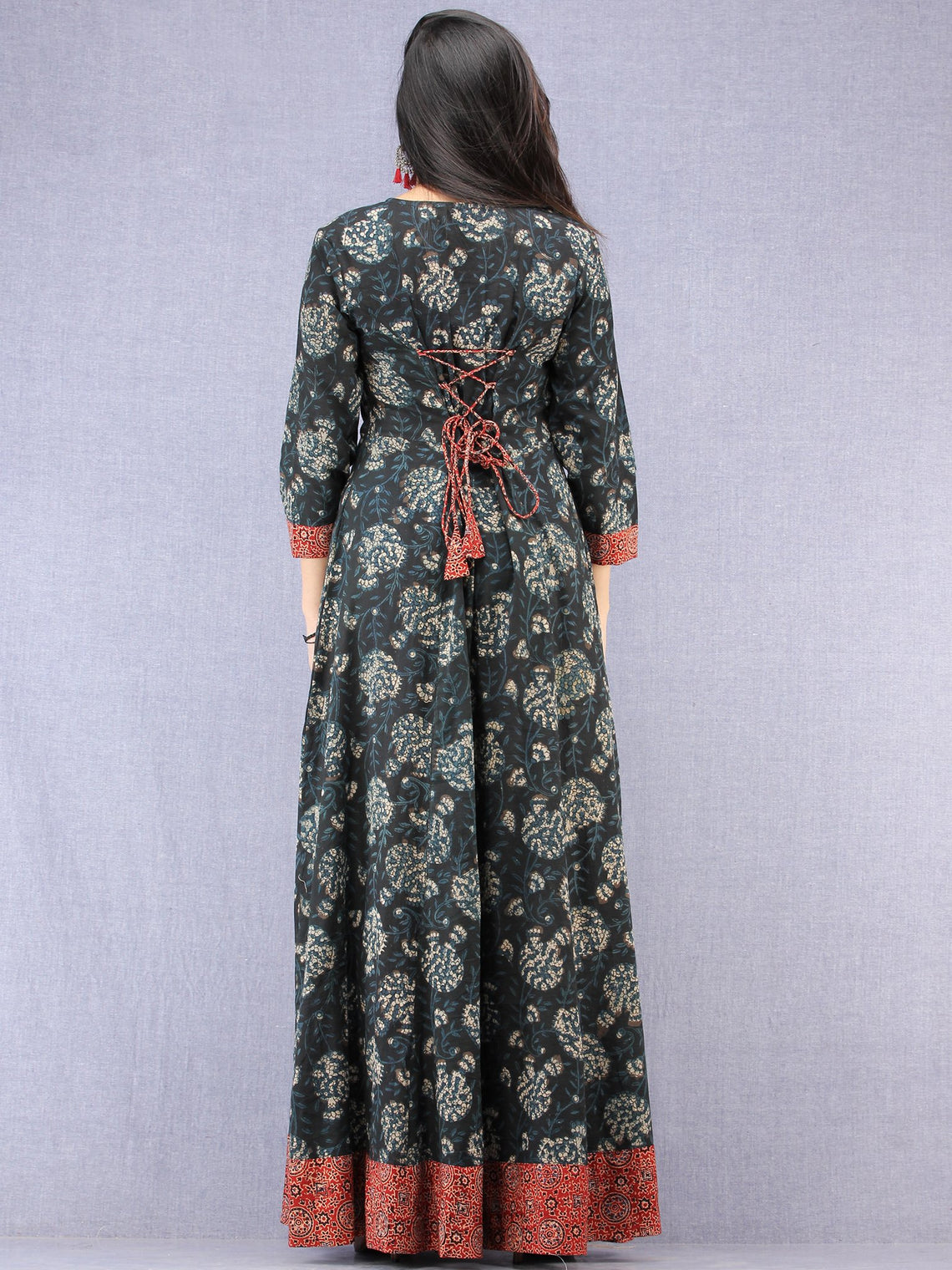 Nazmin - Hand Block Printed Long Cotton Dress With Back Knots  - D162F1823