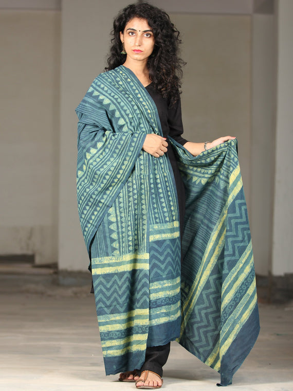 Deep Indigo Green Handloom Cotton Hand Block Printed Dupatta - D04170394