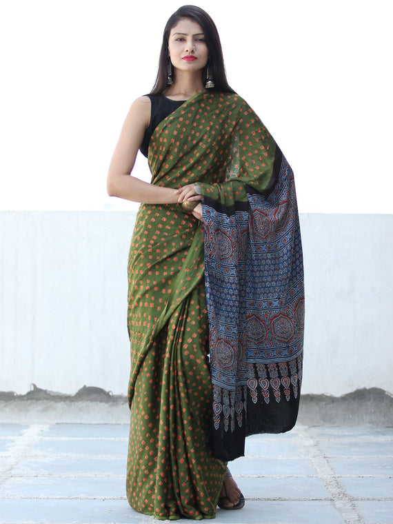 Green Rust Indigo Black Bandhej Modal Silk Saree With Ajrakh Printed Pallu & Blouse - S031703880