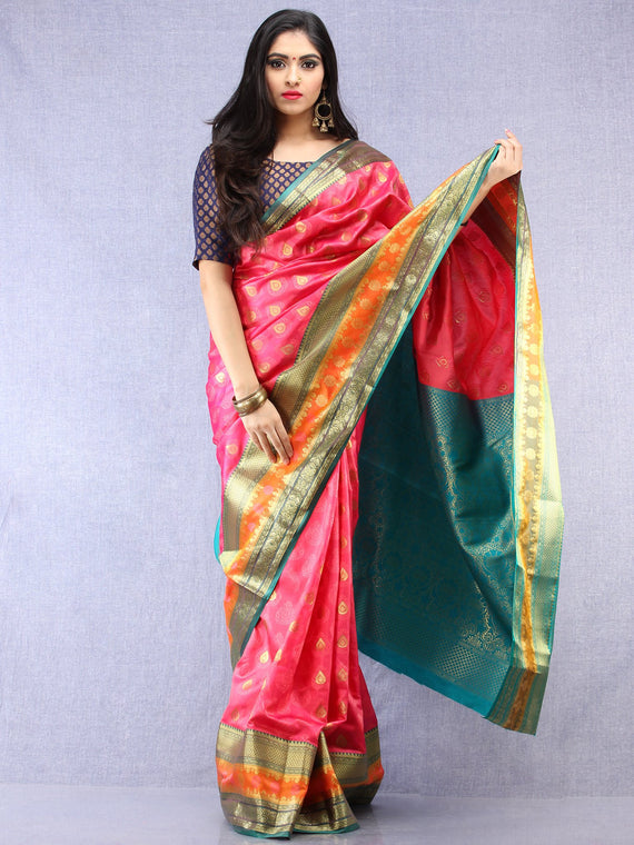 Banarasee Art Silk Saree With Resham Zari Weave - Pink Green & Gold - S031704389
