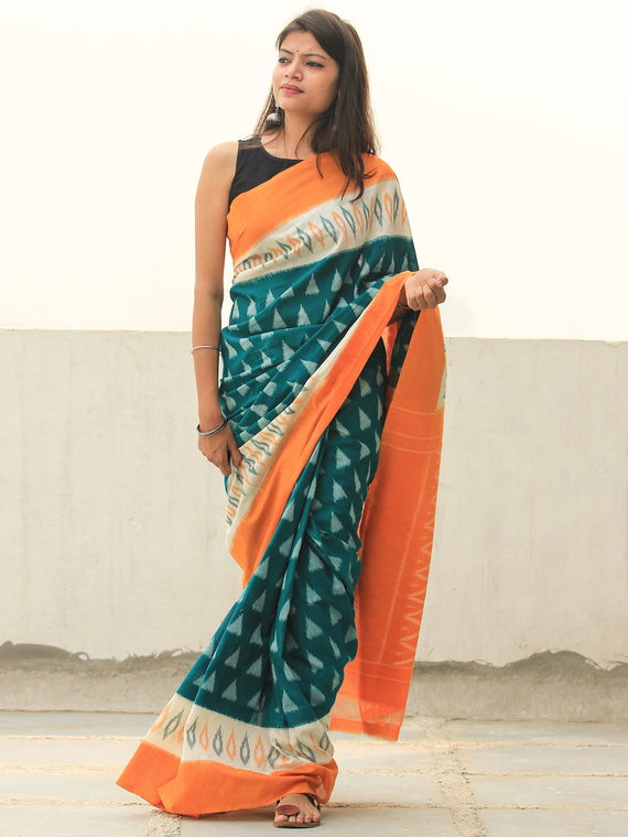 Orange Green White Ikat Handwoven Cotton Saree - S031704106