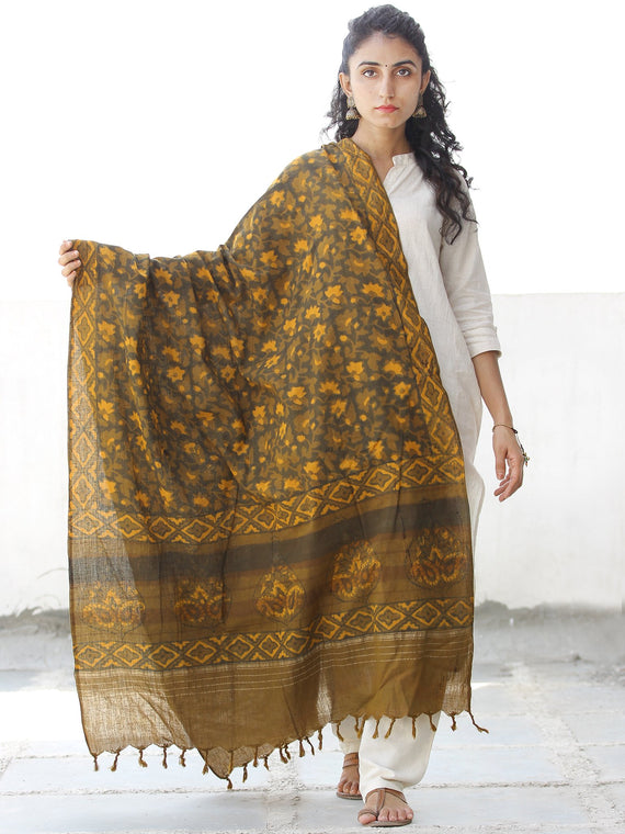 Mustard Brown Yellow Black Chanderi Hand Block Printed Dupatta - D04170545