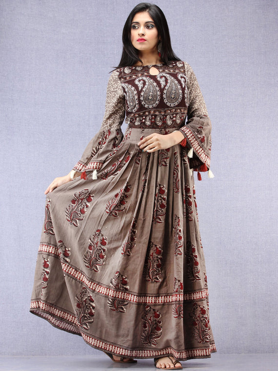 Asmaa - Hand Block Mughal Printed Long Cotton Embroidered Dress - DS105F001