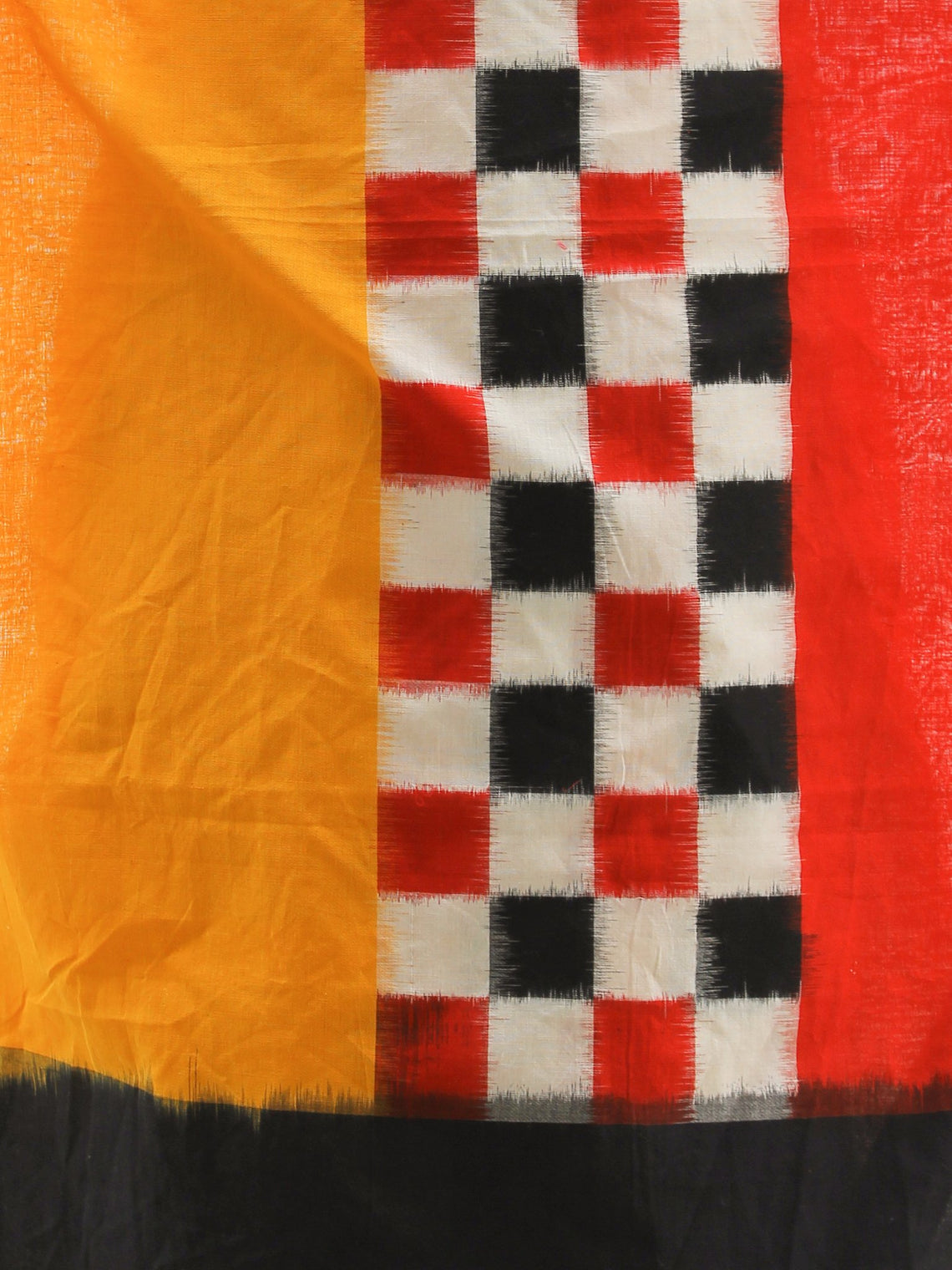 Yellow Red Black White Double Ikat   Handwoven Pochampally Cotton Dupatta -  D04170306