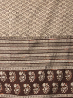 Beige Black Brown Cotton Hand Block Printed Dupatta  - D04170404