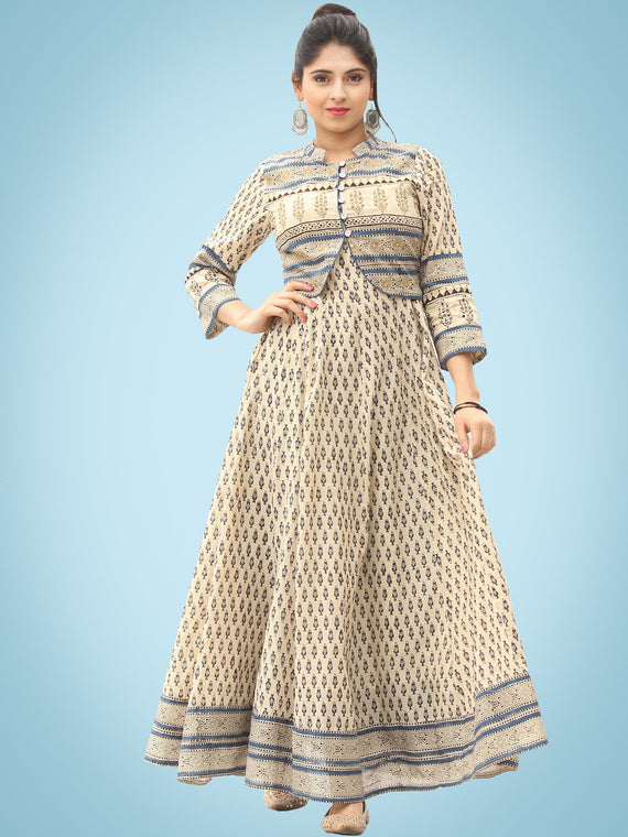 Naaz Dil Ara - Hand Block Printed Long Cotton Panel Dress With Embroidered Jacket - DS108F001