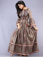 Naaz Asmaa - Hand Block Mughal Printed Long Cotton Embroidered Dress - DS105F001