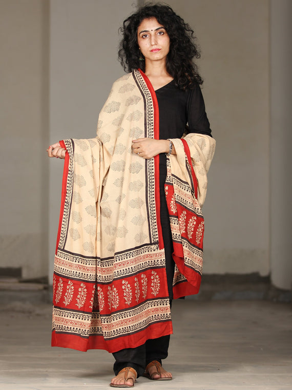 Beige Black Red Cotton Hand Block Printed Dupatta   - D04170405