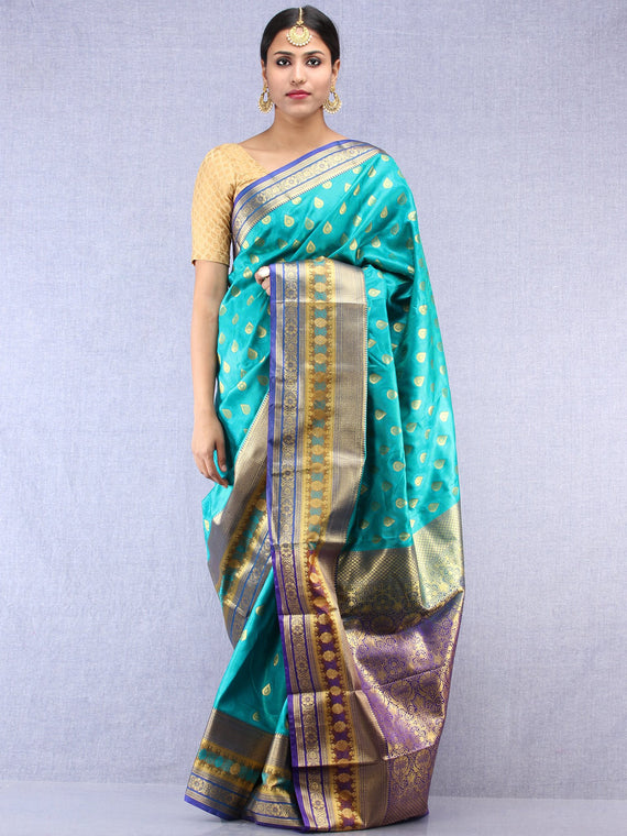Banarasee Art Silk Saree With Resham Zari Weave - Sea Green Purple & Gold - S031704386