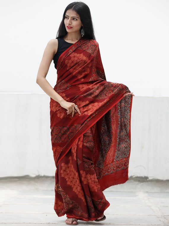 Red Black Indigo Beige Ajrakh Hand Block Printed Modal Silk Saree in Natural Colors - S031703703
