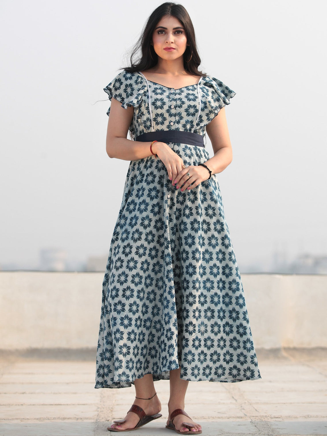 Blue Star - Hand Block Printed Front Open Cotton Dress D462F771