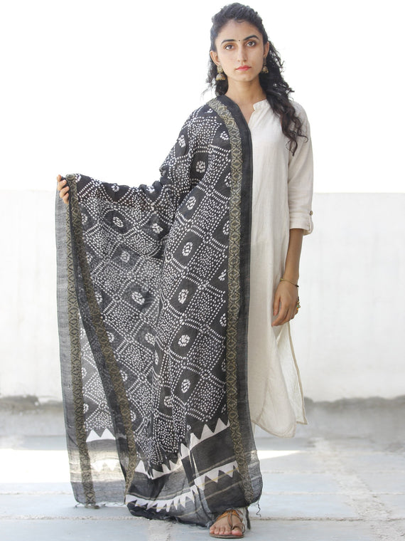 Black White Chanderi Hand Block Printed Dupatta - D04170546