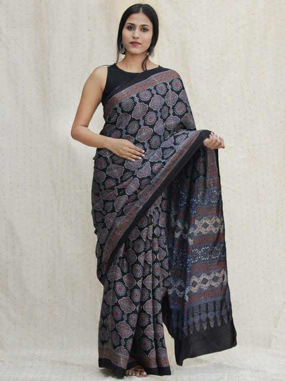 Black Indigo Red Ajrakh Hand Block Printed Modal Silk Saree - S031704124