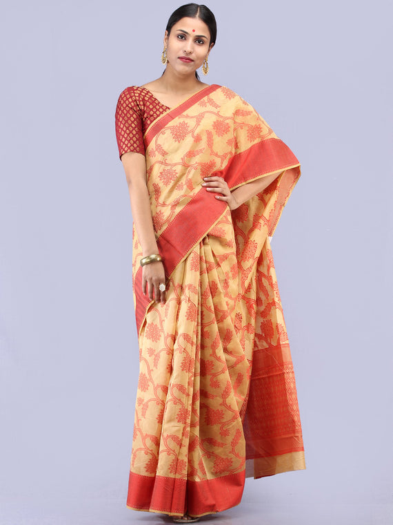 Banarasee Chanderi Saree With Resham Border & Butta - Beige & Red - S031704298