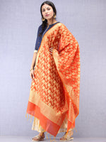 Banarasi Chanderi Dupatta With Zari Work - Orange & Gold - D04170800