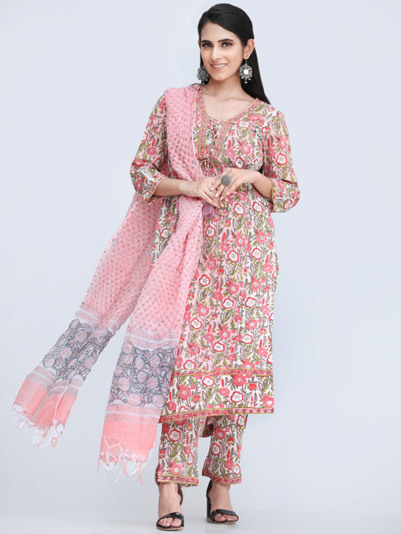 Rozana Abha - Set of Kurta Pants & Dupatta - KS161A2491D
