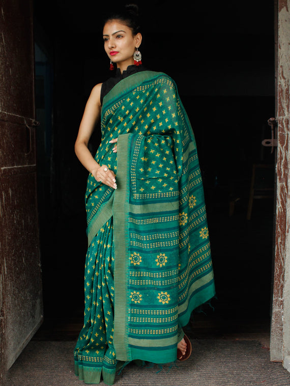 Bottle Green Yellow Chanderi Silk Hand Block Printed Saree With Geecha Border - S031703617