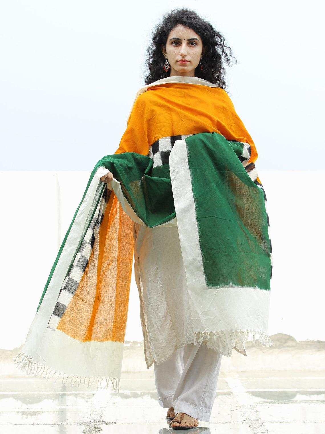 White Green Orange Double Ikat   Handwoven Pochampally Cotton Dupatta -  D04170307