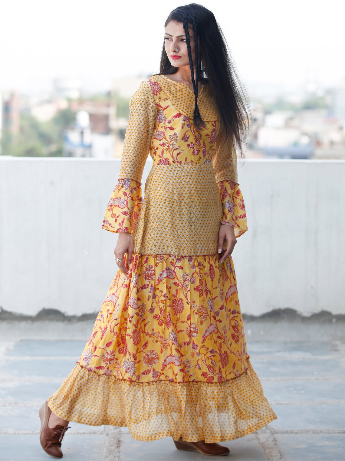 Minimalistic Moods  -  Hand Block Printed Long Chanderi Silk Dress  - D356F1914